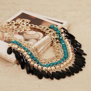 Beautiful Statement Necklace With Drop Beading